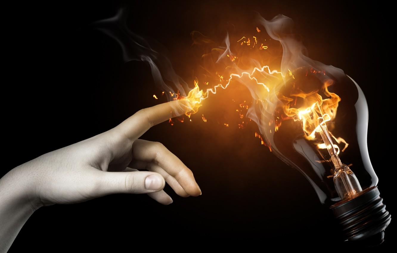 Photo wallpaper light bulb, fire, Hand
