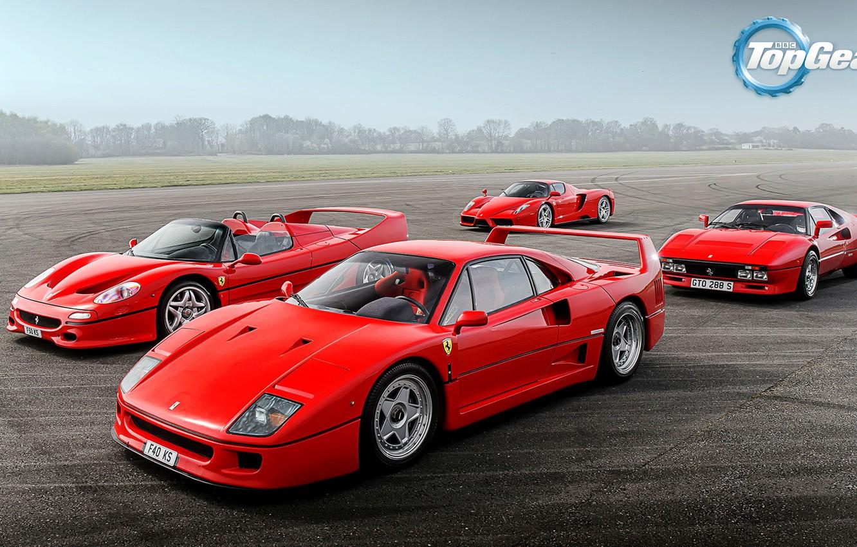 Photo wallpaper Top Gear, Ferrari, Red, F40, Sky, Grass, Enzo, Front, Supercars, Track, Italian, F50, 288 GTO