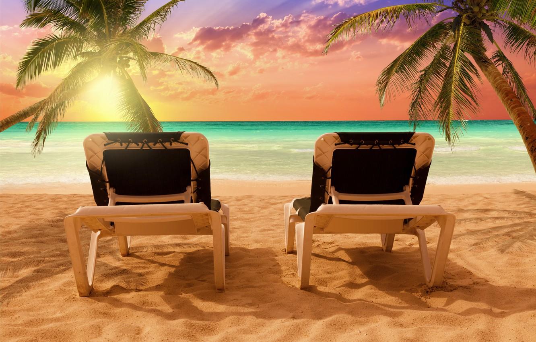 Photo wallpaper sand, sea, beach, the sun, palm trees, shore, beach, sea, sand, sun loungers, shore, paradise, ...
