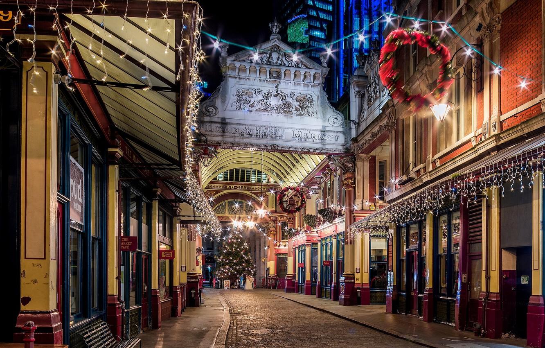 Photo wallpaper winter, road, light, night, the city, lights, street, England, London, building, tree, home, the evening, …