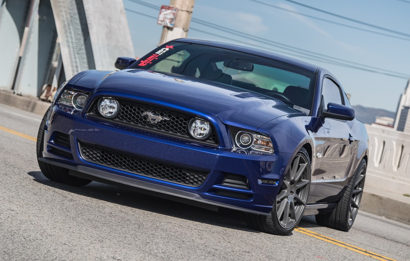 Photo wallpaper Ford, mustang, blue, 5.0