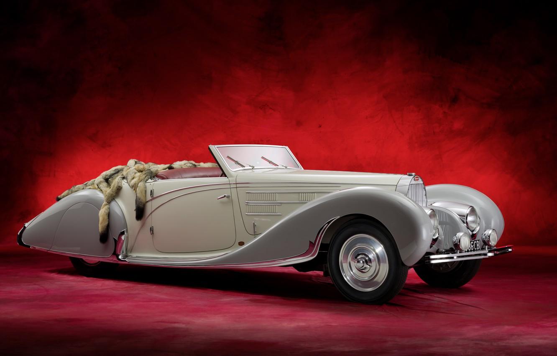 Photo wallpaper Bugatti, retro, Cabriolet, old car, Type 57C
