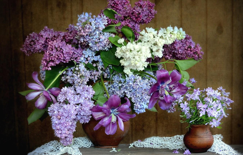 Photo wallpaper bouquet, tulips, lilac, Phlox