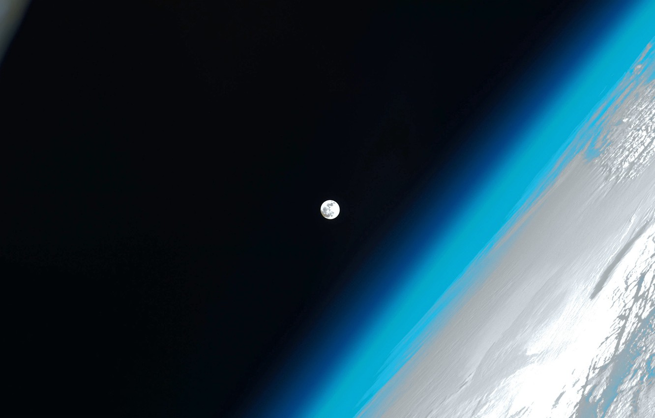Photo wallpaper the atmosphere, The moon, Earth, ISS, photo NASA
