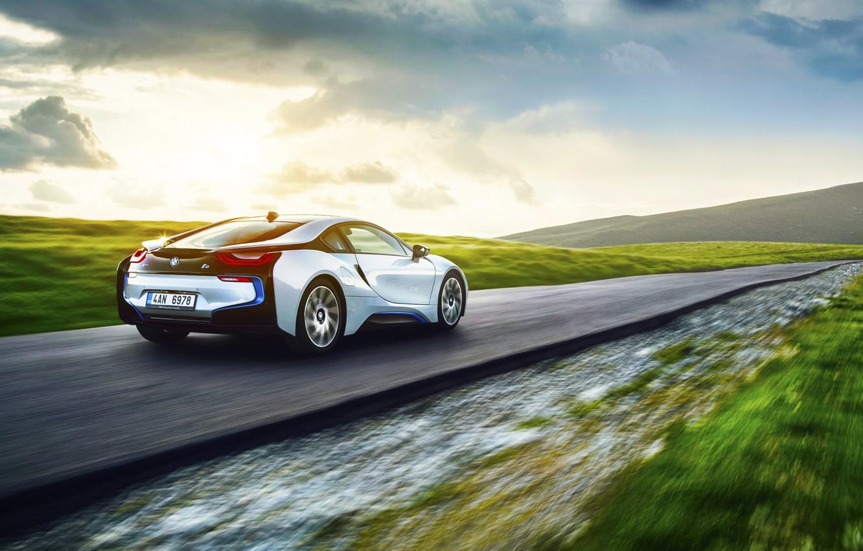 Photo wallpaper BMW, Grass, Speed, White, Motion, Exotic, Rear