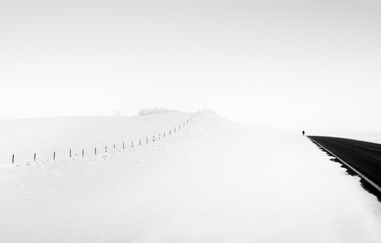 Photo wallpaper road, snow, people