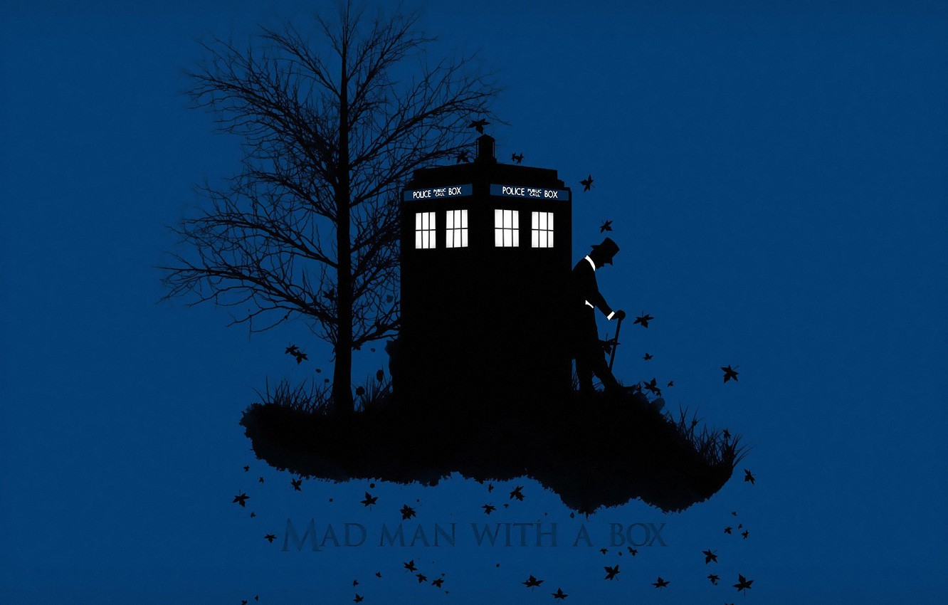 Photo wallpaper autumn, grass, leaves, background, tree, hat, silhouette, cane, booth, Doctor Who, cylinder, Doctor Who, The …