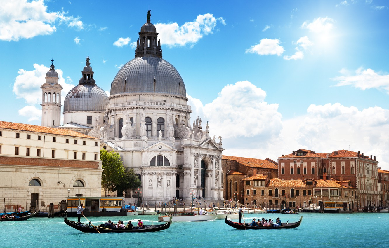 Photo wallpaper sea, the sky, clouds, the city, people, Italy, Venice, Cathedral, channel, architecture, gondola, Venice, Santa …
