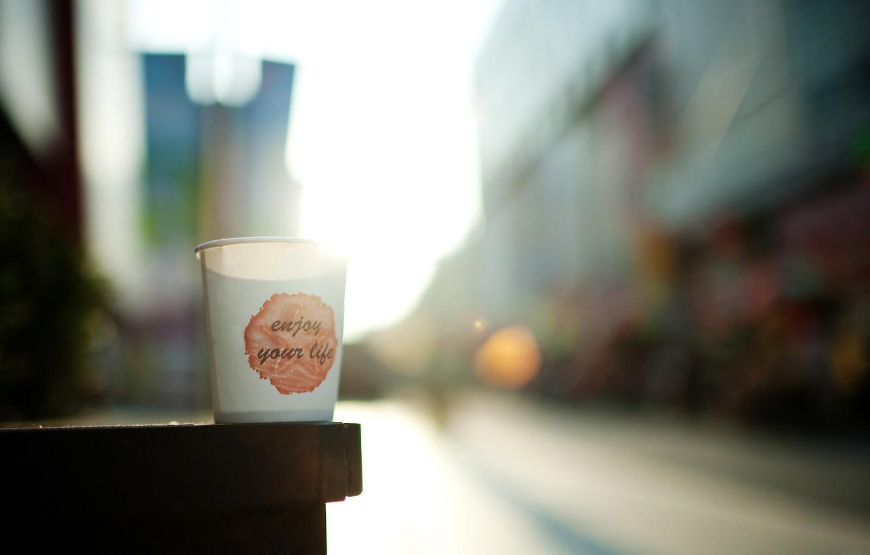 Photo wallpaper glass, mood, the inscription, morning, enjoy your life