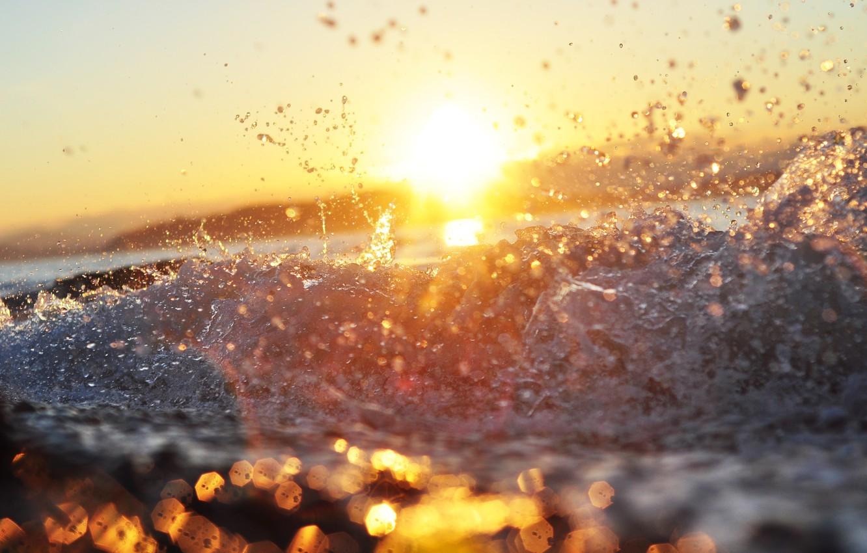 Photo wallpaper sea, wave, water, the sun, squirt, bokeh