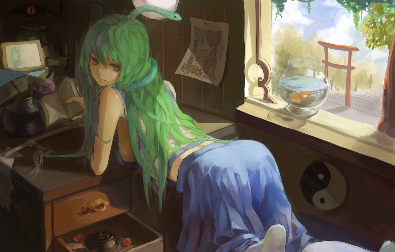 Photo wallpaper girl, room, aquarium, snake, fish, fish, window, touhou, snake, kochi have done the art