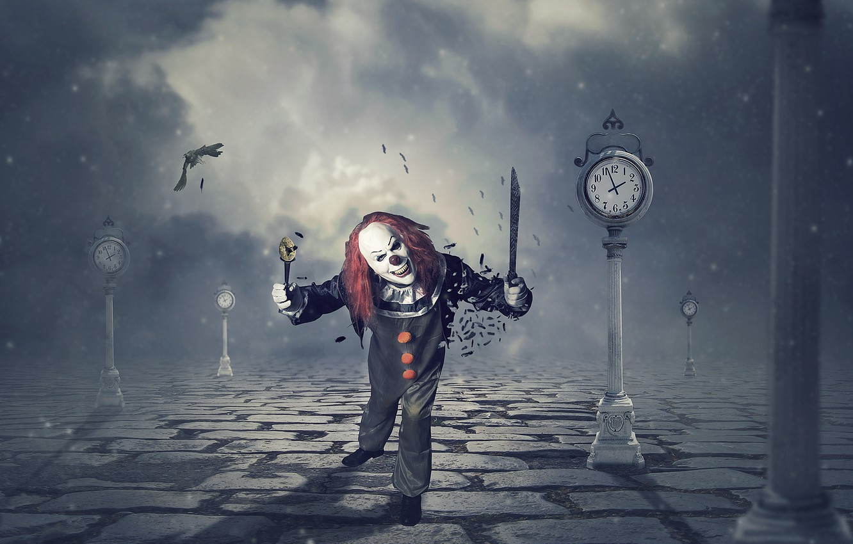 Photo wallpaper background, clown, knife