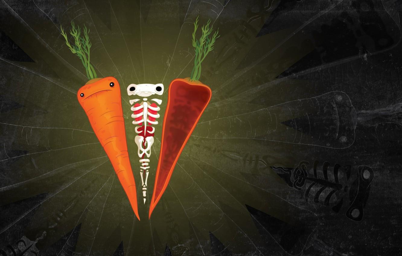Photo wallpaper sadness, greens, mood, figure, texture, silhouette, bones, skeleton, carrots, carrot