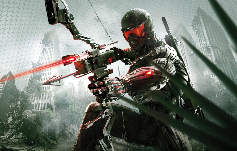 Photo wallpaper the city, Apocalypse, bow, jungle, arrow, nanosuit, Crytek, Crysis 3