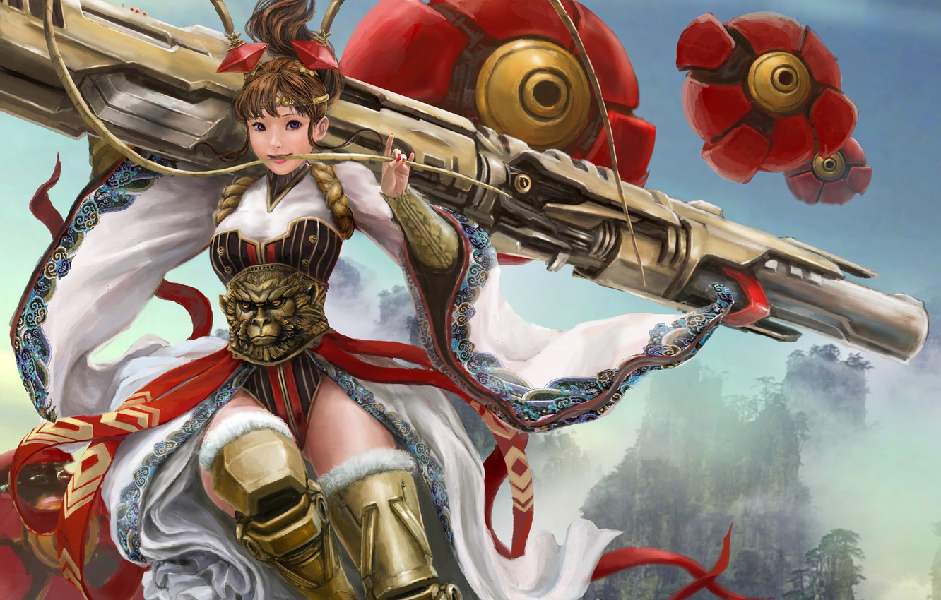 Photo wallpaper look, girl, pose, weapons, anime, art, corset