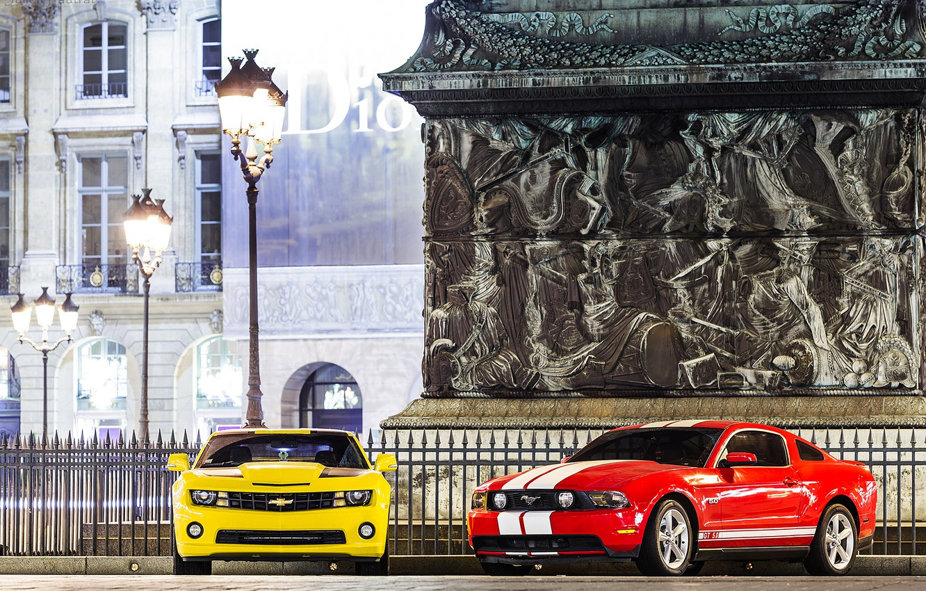 Photo wallpaper mustang, lights, ford, chevrolet camaro, muscle cars