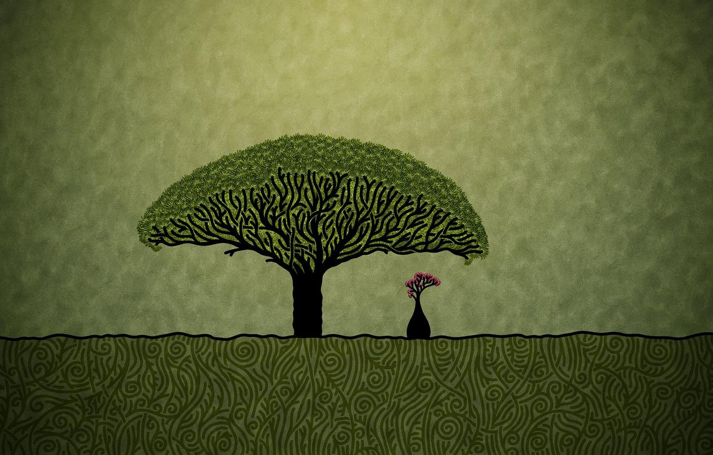 Photo wallpaper minimalism, Figure, baobab