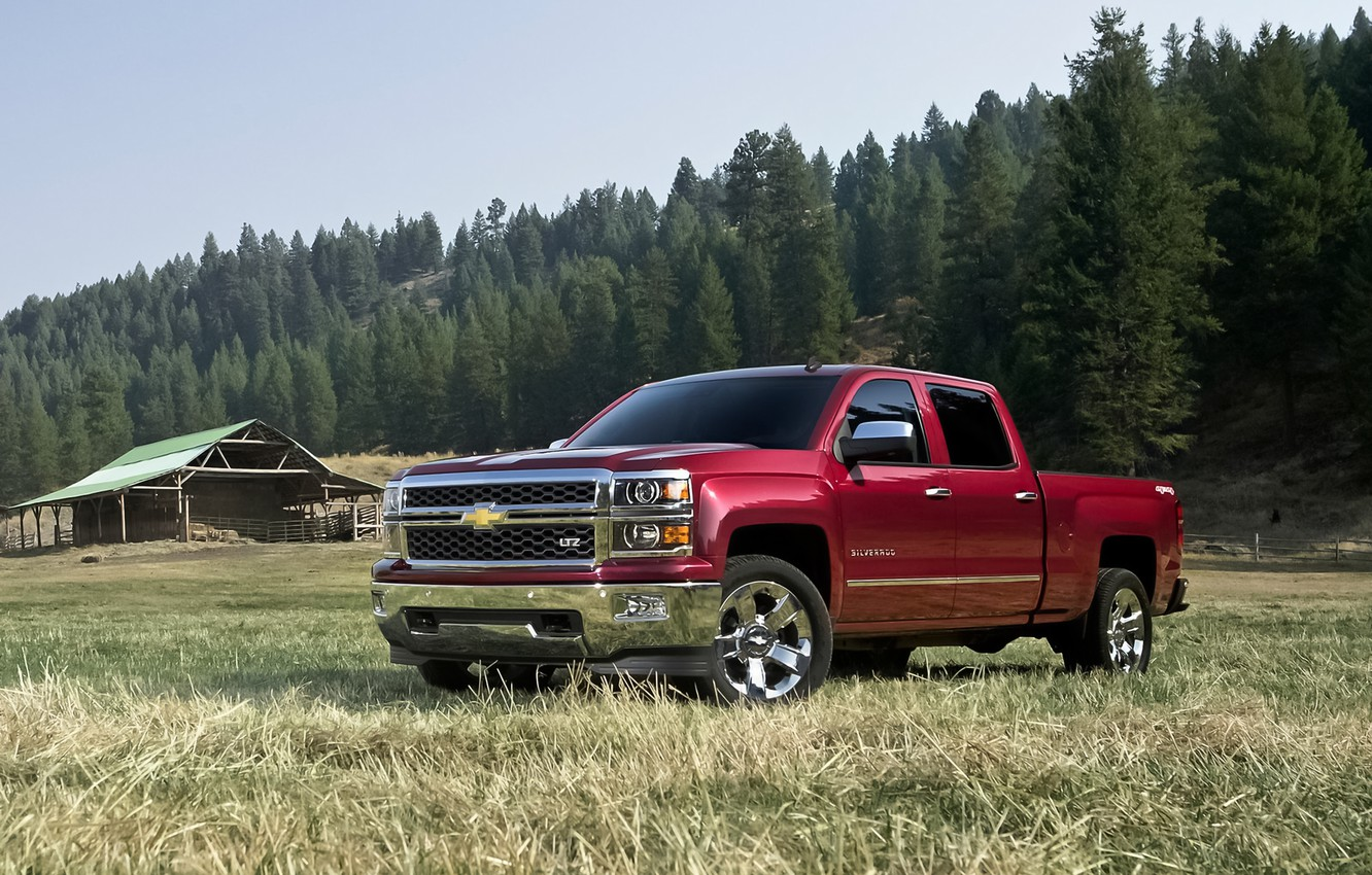 Photo wallpaper red, truck, pickup, 1500, bed, chevy, large, 2014, Chevrolet Silverado, North America, size, double cab, …