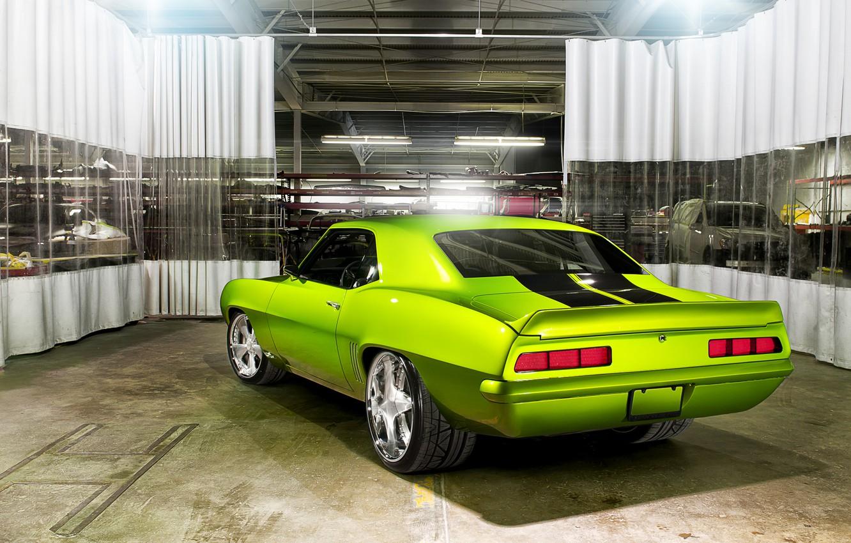 Photo wallpaper machine, garage, car, Chevrolet Camaro, Rides Green Monster 34