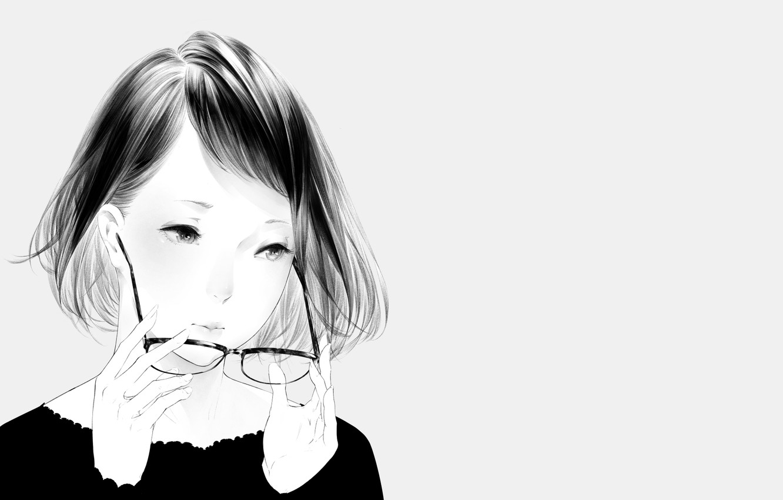 Photo wallpaper girl, portrait, art, glasses, Sawasawa