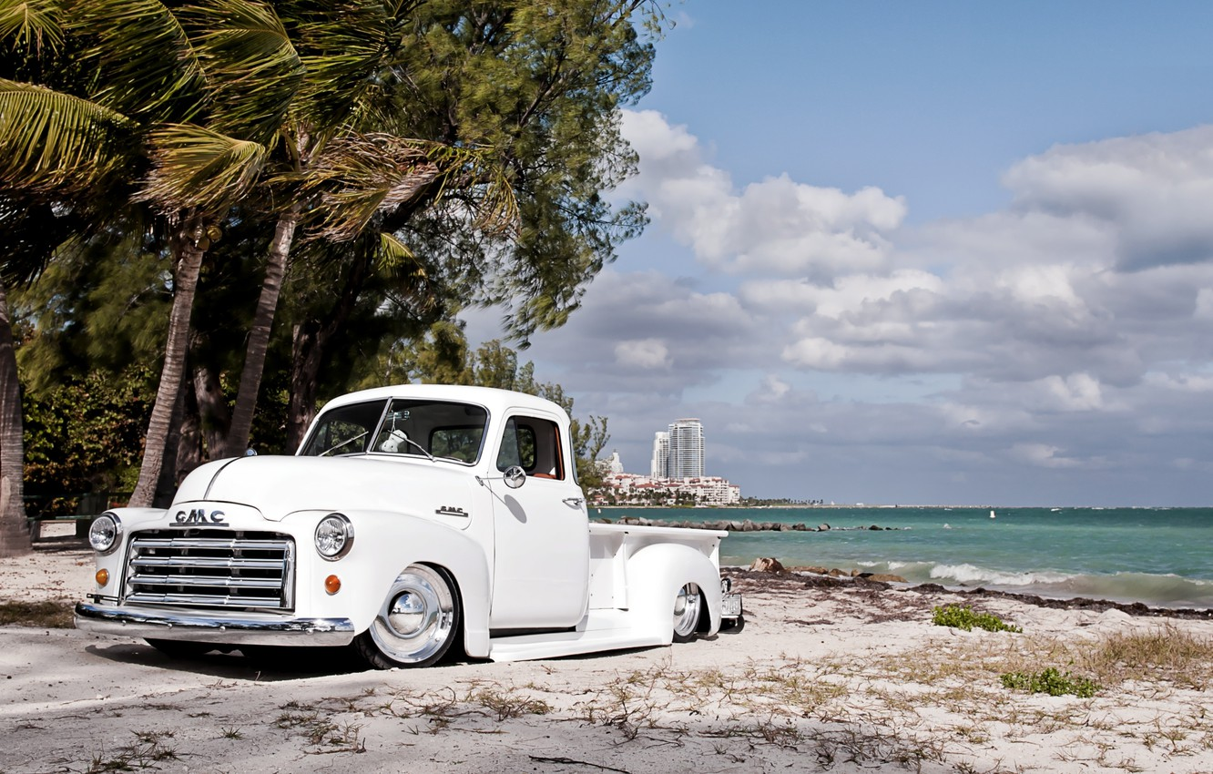 Photo wallpaper white, beach, the sky, clouds, retro, palm trees, shore, tuning, pickup, tuning, the front, GMC, …