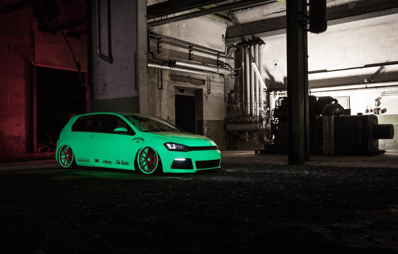 Photo wallpaper green, Volkswagen, Light, tuning, Tron, Golf, VII