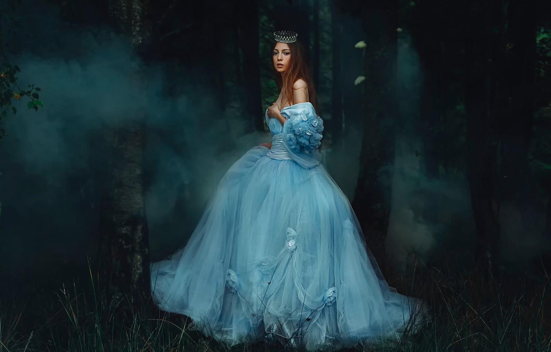 Photo wallpaper forest, girl, smoke, dress, Rosie Hardy