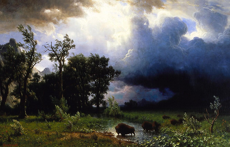 Photo wallpaper the storm, landscape, storm, picture, Albert Bierstadt, Trail Of The Buffalo