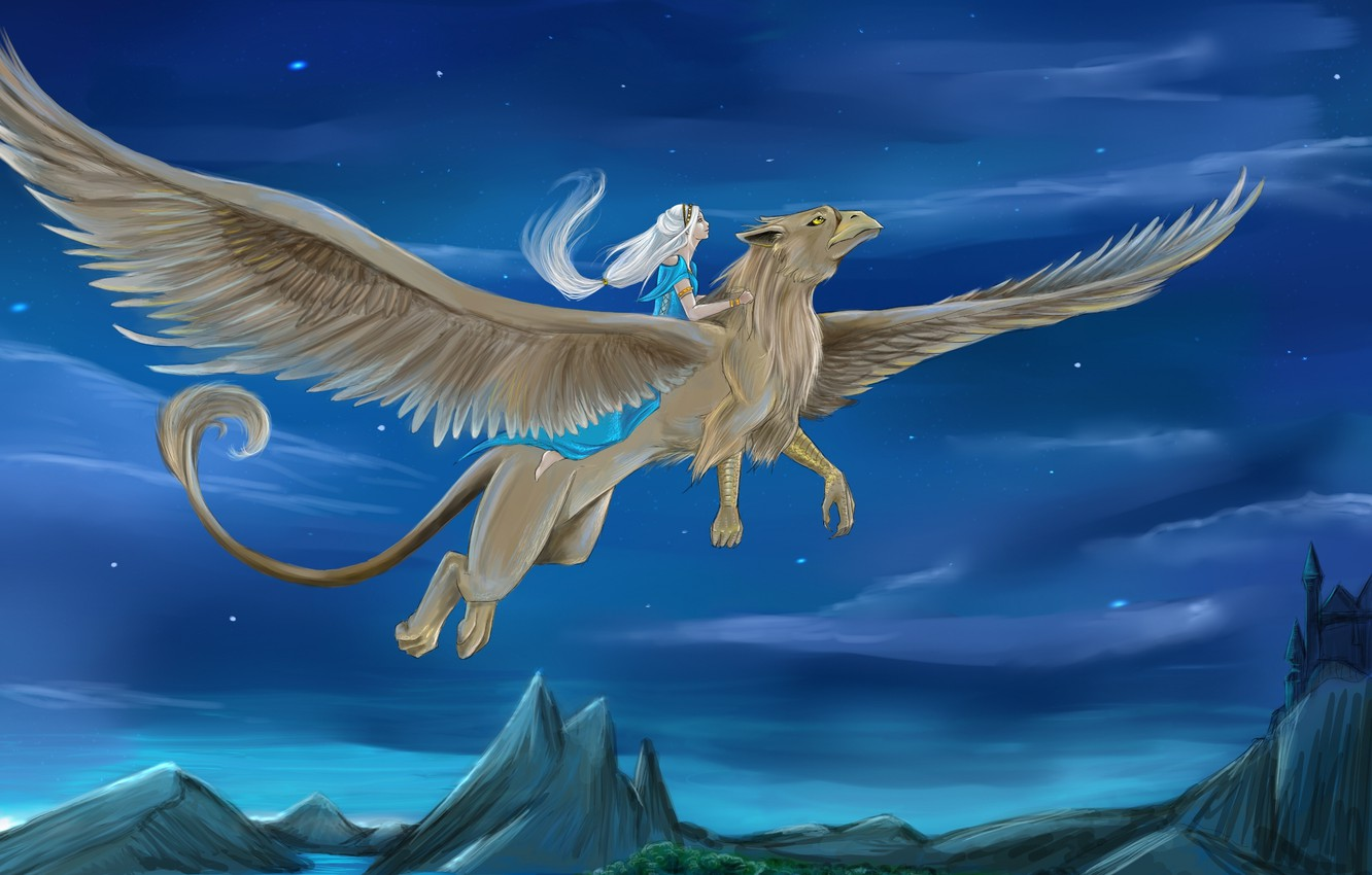 Photo wallpaper the sky, girl, stars, flight, fiction, wings, being, art, Griffin, white hair