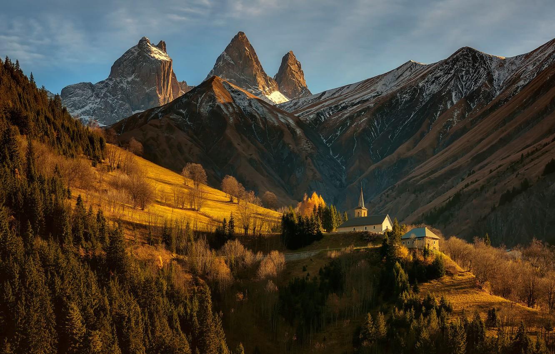 Photo wallpaper mountains, castle, France, Alps