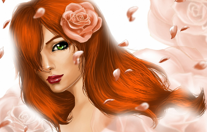 Photo wallpaper girl, flowers, roses, petals, art, red