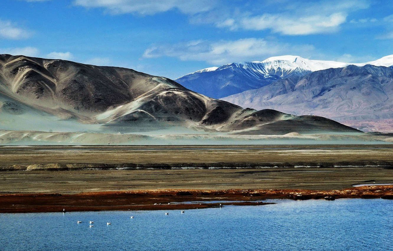 Photo wallpaper the sky, clouds, mountains, lake, Pamir