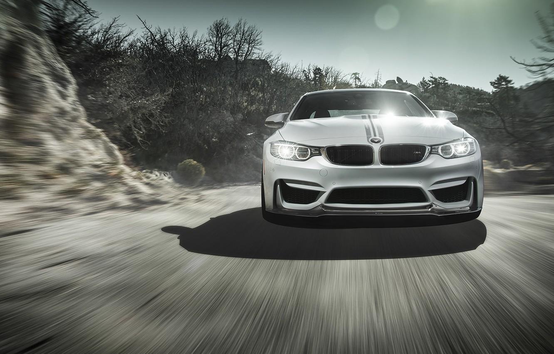 Photo wallpaper BMW, Sky, Front, Vorsteiner, Sun, White, Tuning, Road, Wheels, Ligth