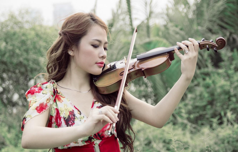 Photo wallpaper girl, music, violin, Asian