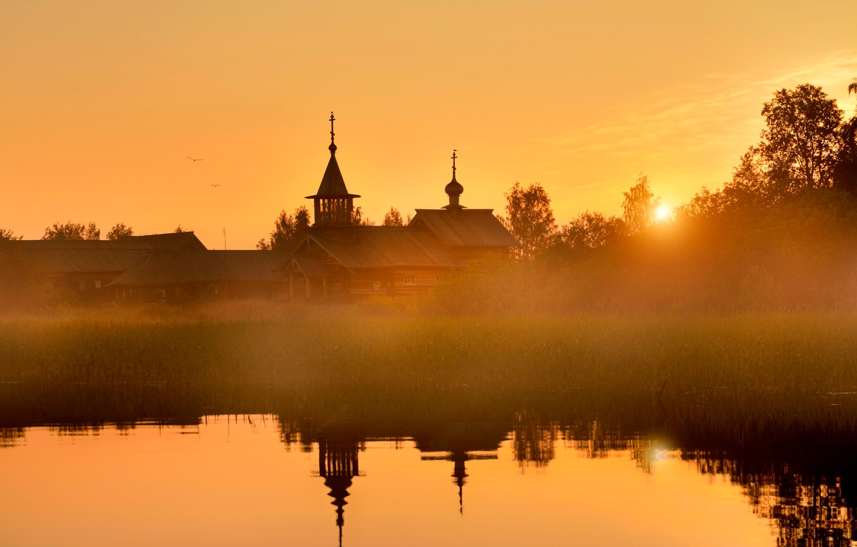 Photo wallpaper fog, dawn, Russia, Kizhi, Derevnya Vasilyevo