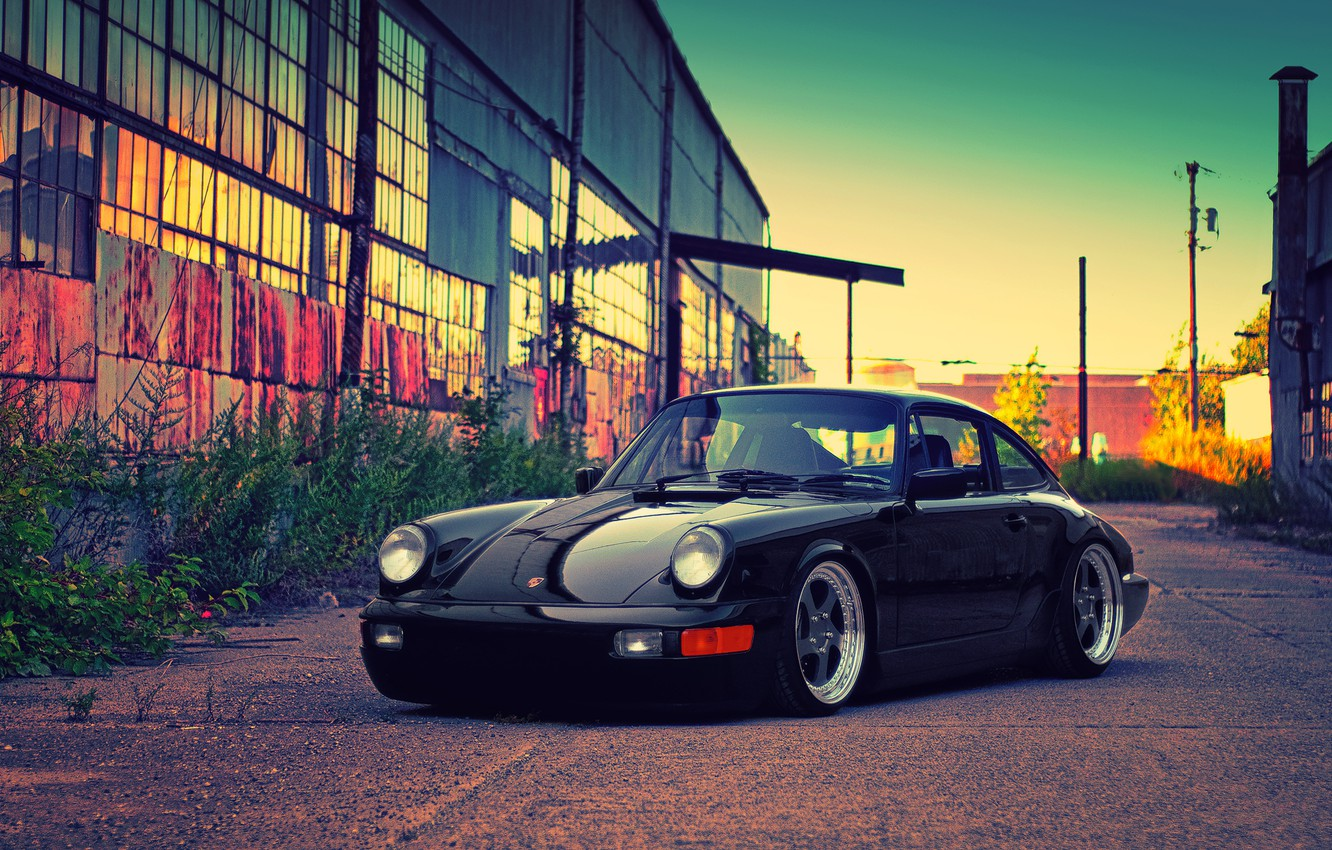 Photo wallpaper black, building, Porsche