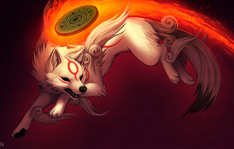 Photo wallpaper fire, flame, wolf, art, falvie art