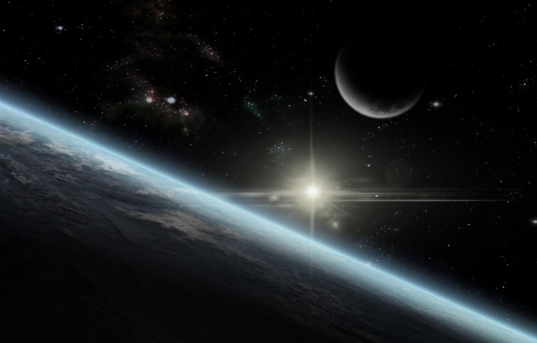 earth, moon, star, sun, atmosphere