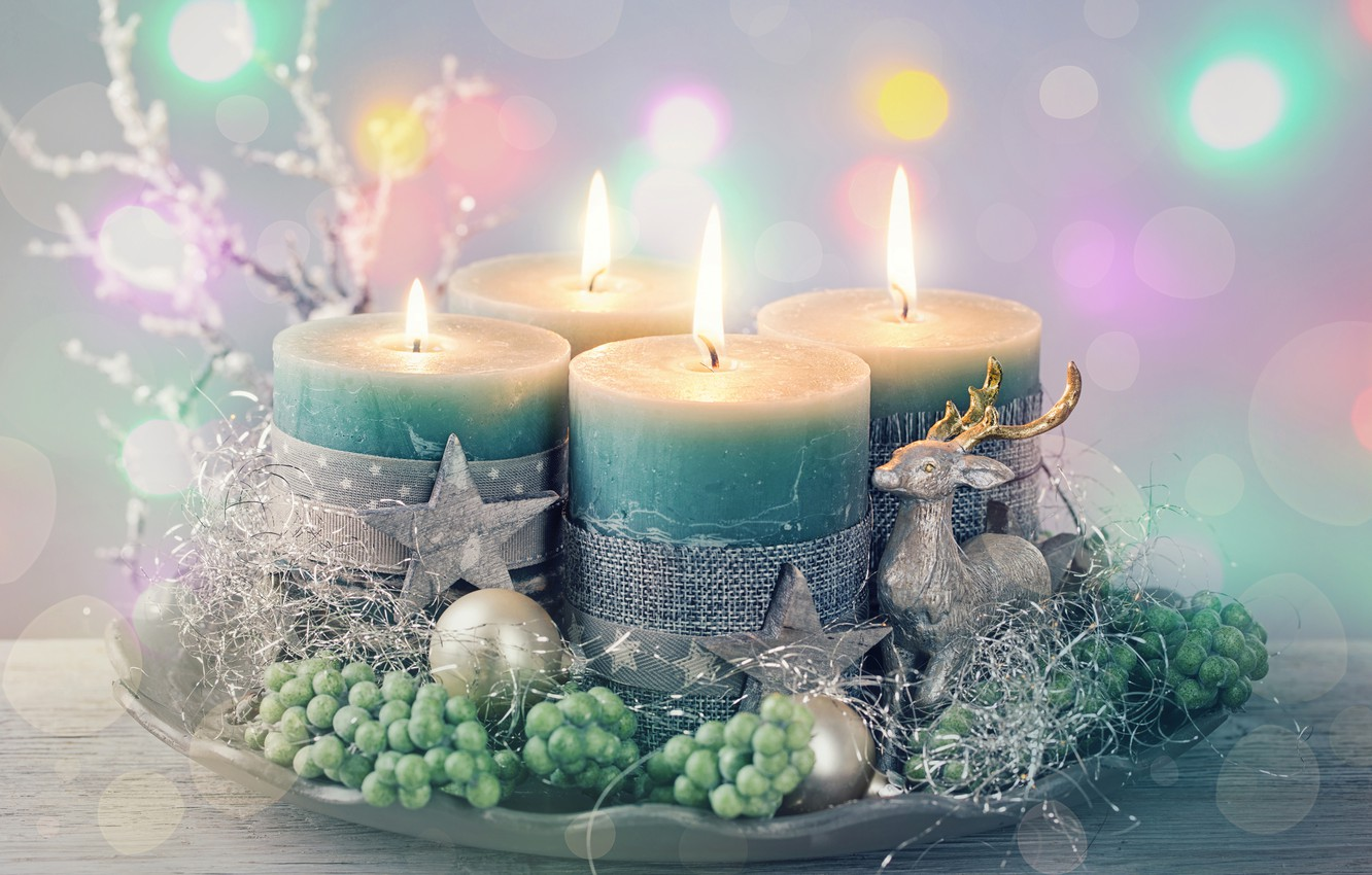 Photo wallpaper decoration, new year, candles, New Year, candles, decorations