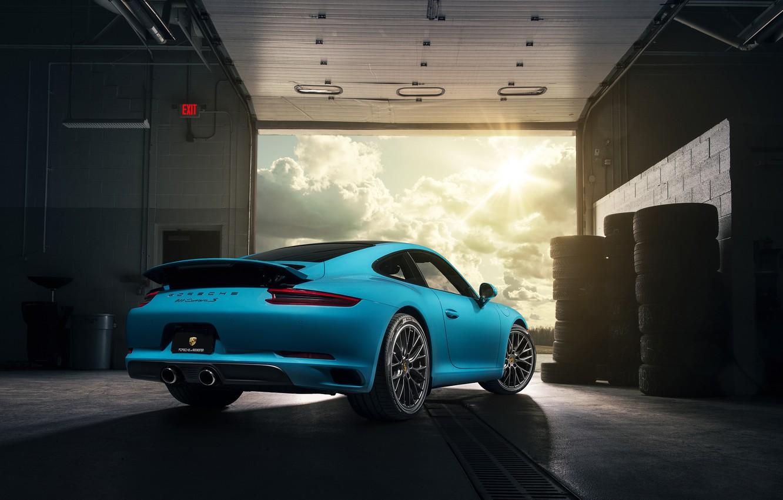 Photo wallpaper 911, Porsche, Blue, Carrera, Supercars, Rear, 2017