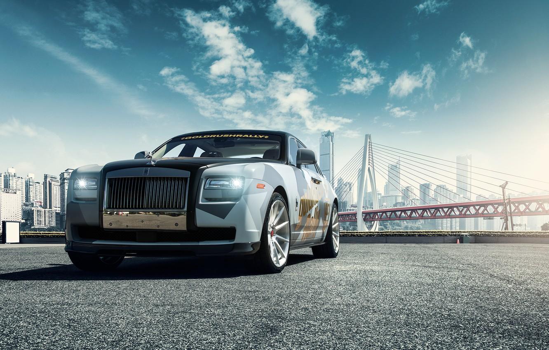Photo wallpaper car, bridge, Rolls Royce Ghost
