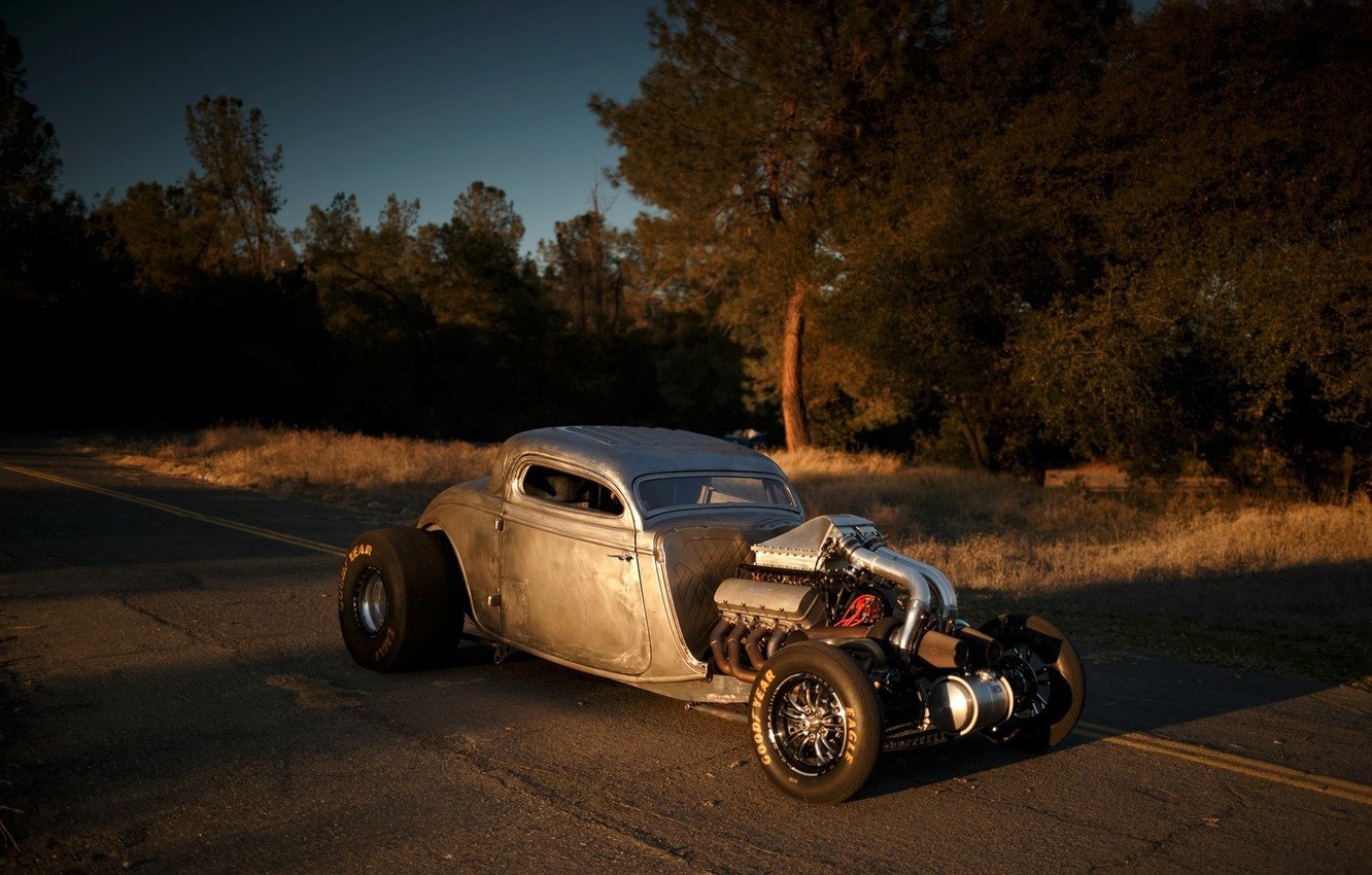 Photo wallpaper Ford, Hot Rod, Coupe, Twin Turbo, 1934, Drag Car, Big Block