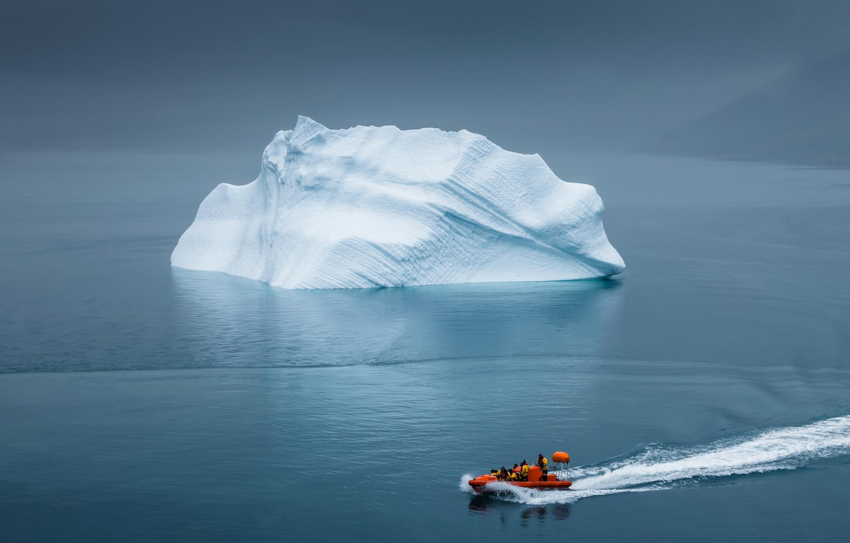 Photo wallpaper iceberg, Greenland, lifeboat
