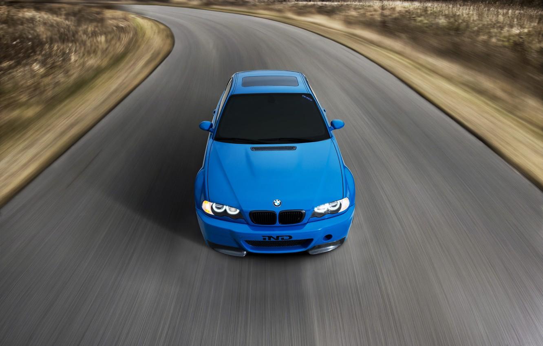 Photo wallpaper road, blue, bmw, BMW, speed, road, blue, speed, headlights, e46, toned
