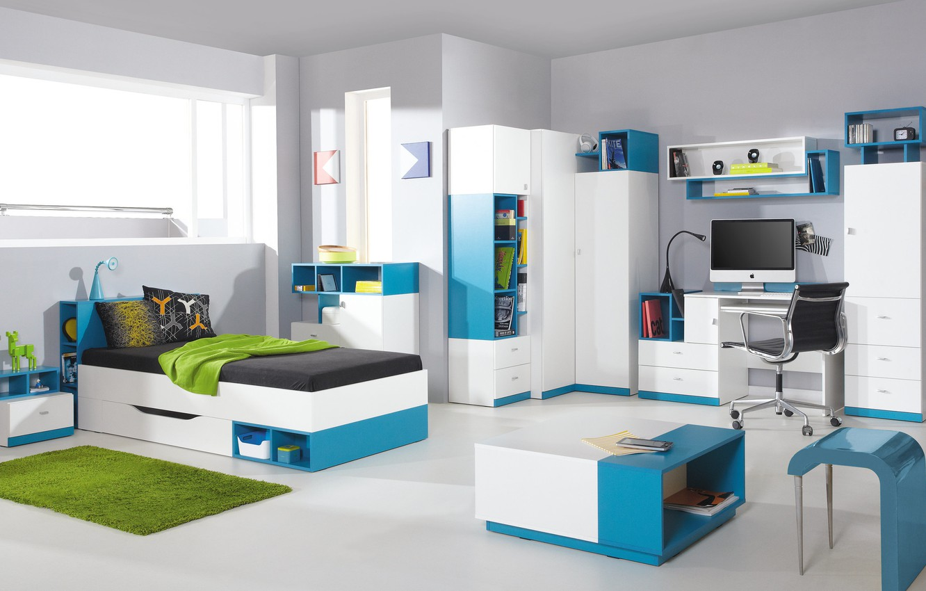 Photo wallpaper design, style, interior, children's, the room of the student