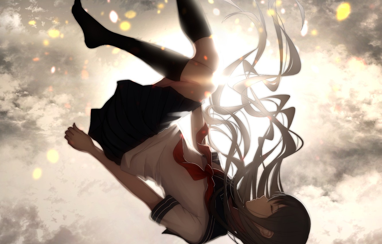 Photo wallpaper the sky, girl, clouds, height, anime, drop, art, form, schoolgirl, lynx-shrike