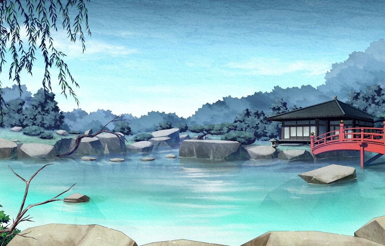 Photo wallpaper the sky, red, bridge, house, pond, stones, game, the bushes, Kaji wait to wring Kaguya