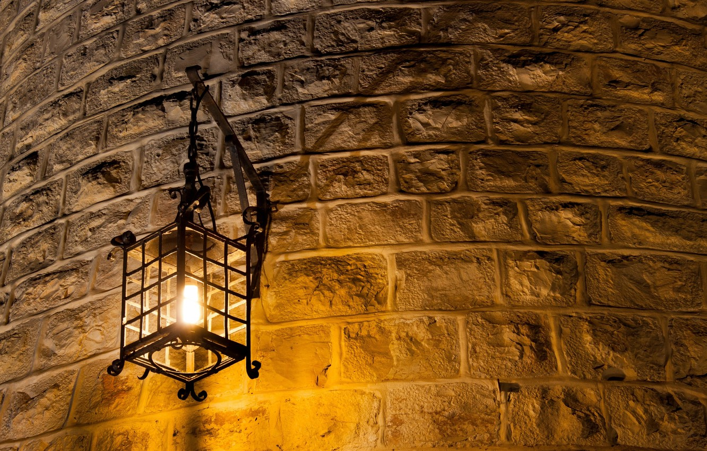 Photo wallpaper light, metal, wall, lantern, brick, light bulb, Wall lamp, curved