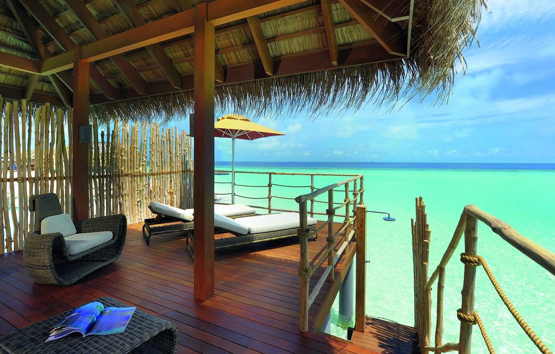 Photo wallpaper the ocean, the Maldives, Bungalow