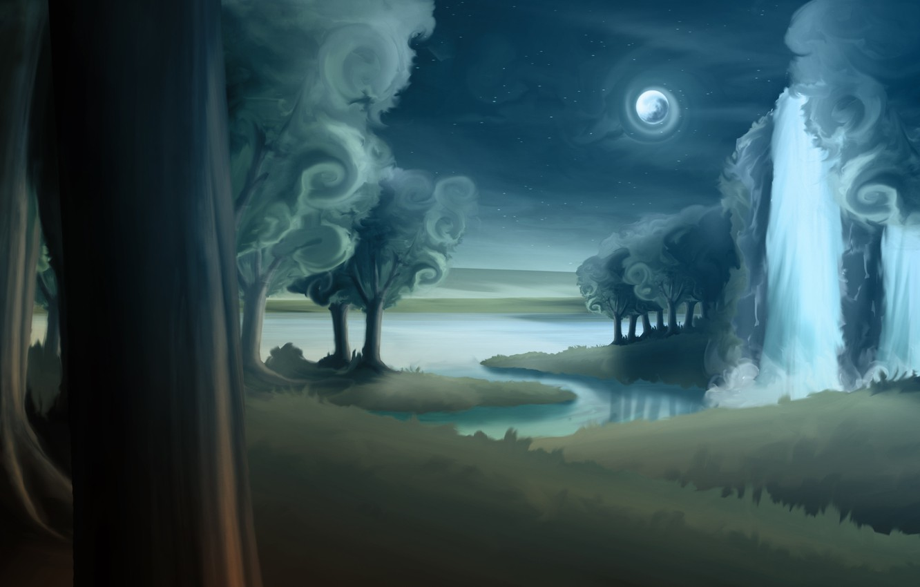 Photo wallpaper forest, trees, night, river, trunks, the moon, waterfall, art